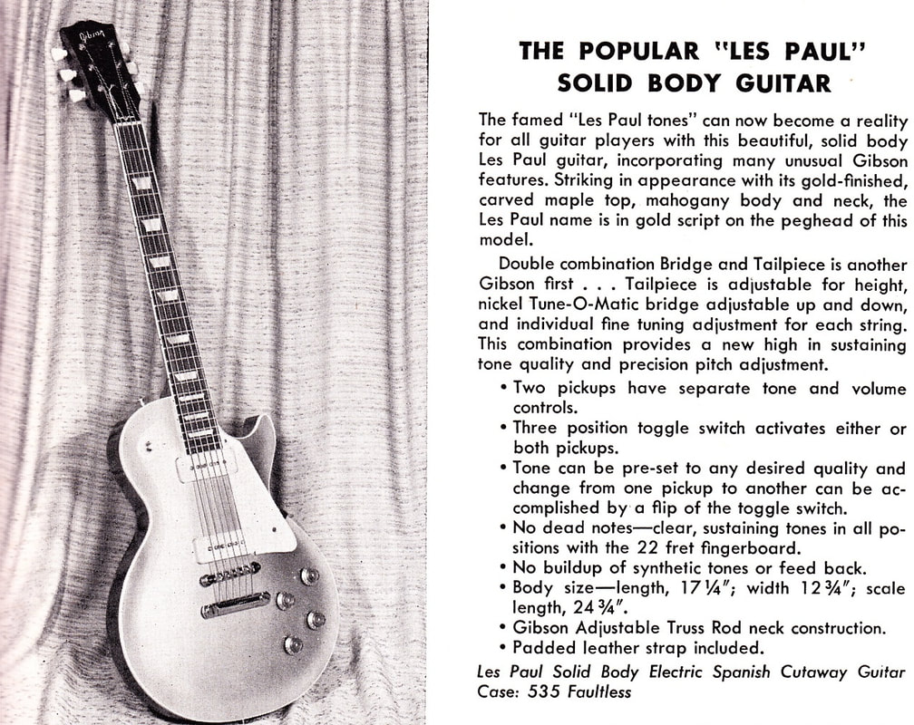 The Les Paul with the ABR-1 Tune-O-Matic, 1956 Gibson catalog