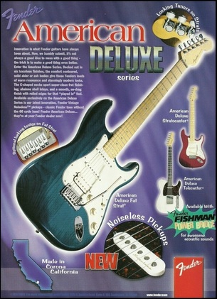 1998 American Deluxe Series and new noiseless pickups advert