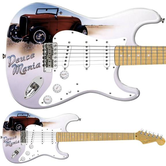 The Stratocaster that Fender gave Jeff on which Pamelina Hovnatanian had painted the guitarist's Ford and that was not a signature prototype