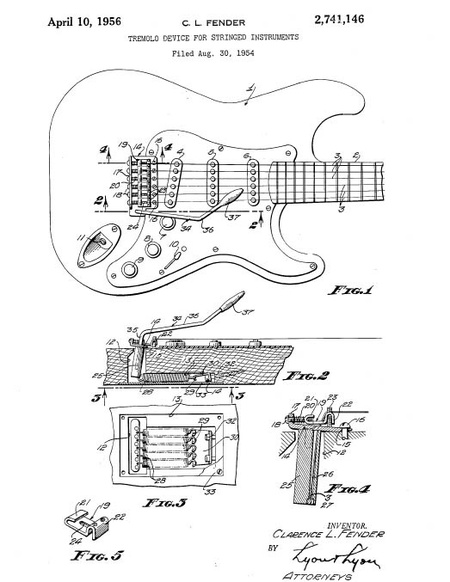 Synchronized Tremolo Patent, filed on 30th August 1954, approved on 10th April 1956
