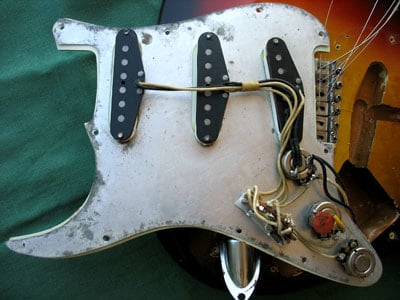 Metal shielding sheet of a 1963 pickguard