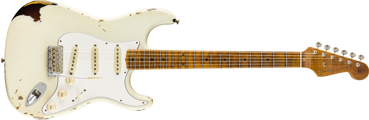 9235000873: Maple Neck, Aged Olympic White over 2-Color Sunburst