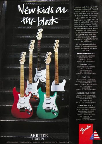 Fender advert del 1989: American Standard and Plus Series