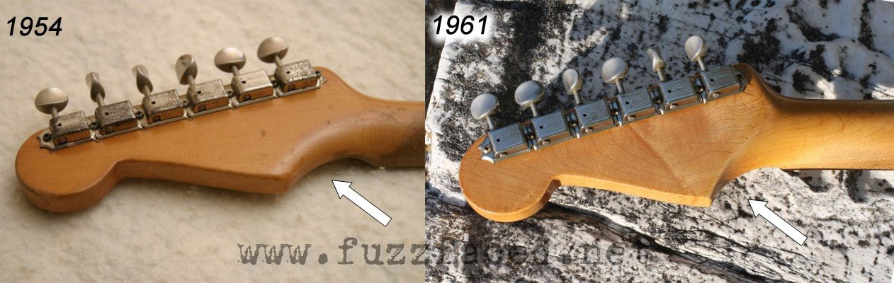 Comparison between the back face of the headstock of a 1954 stratocaster, with rounder shapes, and a 1961 one
