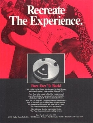 Dave Fox's Fuzz Face reissue advert
