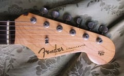 Original 1959 Stratocaster. The Spaghetti logo was smaller compared to that of the very first JV guitars