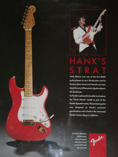 Advert of the first Hank Marvin signature Stratocaster, equipped with Lace Sensors, withdrawn upon request of Hank