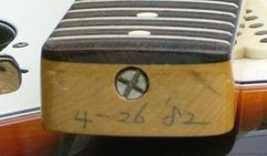 Note how truss rod adjuster nut doesn't enter the rosewood cap in some very early JV guitars