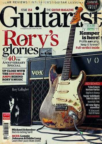 May 2012 Guitarist's cover, with Rory's Stratocaster, Vox AC30 and Rangemaster Treble Booster
