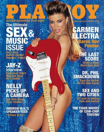 As the Stratocaster turns 50, the Southern California guitar became a global phenomen and appeared on April 2003 Playboy magazine, along with Carmen Electra.