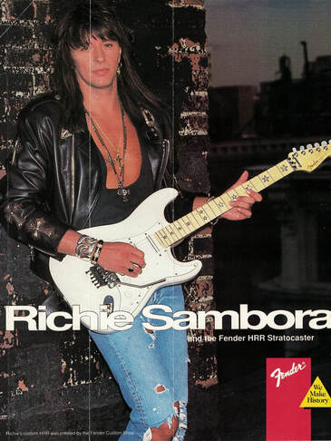 Richie Sambora posing for the Fender Fronline: despite the star shaped fret marker, the guitar in the picture is not his signature model, but a customized HRR strat