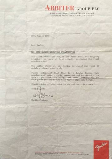 The letter sent to the owners of the first Hank Marvin signature strat with which Fender explained the reason for the withdrawal