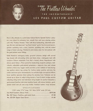 Les Paul Custom with three humbucker, 1958 catalog