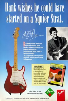 1991 advert portraying Hank with a Korean Squier bearing his signature