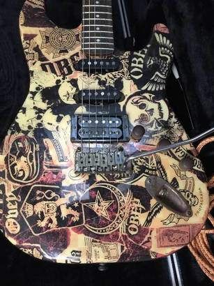 Obey Collage Stratocaster, Graphic Series (reverb.com)