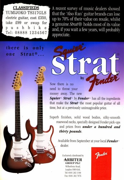 First 22-frets Squier Strats advert