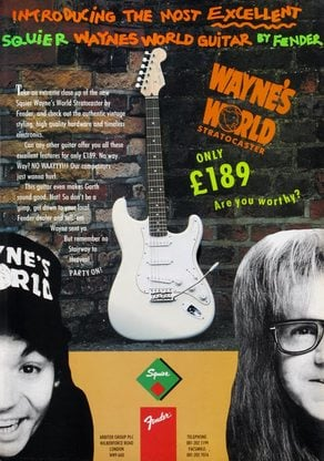 1993 Squier Wayne's World Strat advert: the guitar in the picture oddly had Gotoh tuners