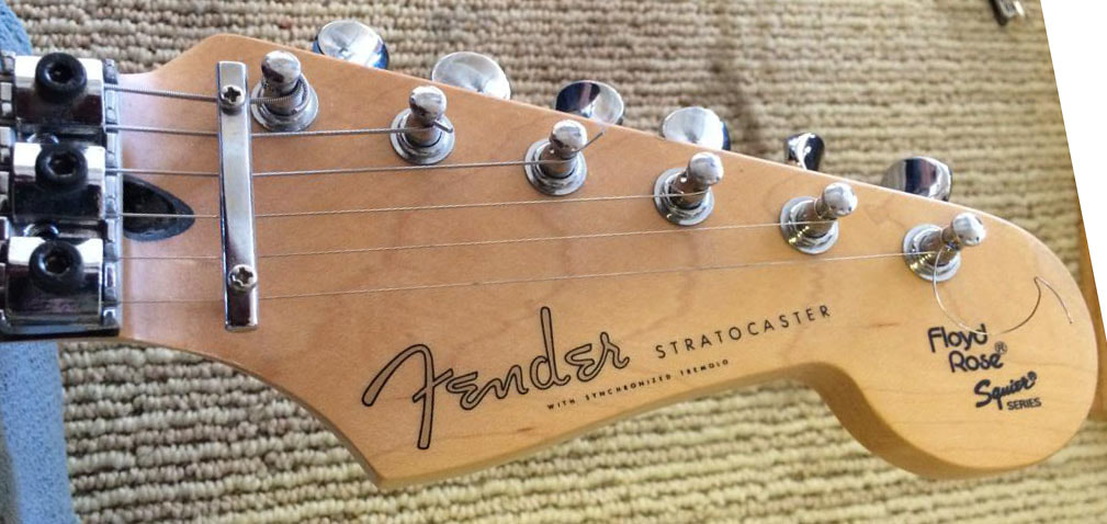 Locking nut and single bar string guide on a Stratocaster made in Japan