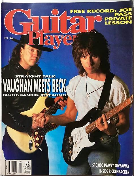 Stevie Ray Vaughan and Jeff Beck with his signature blue prototype, February 1990 edition of Guitar Player