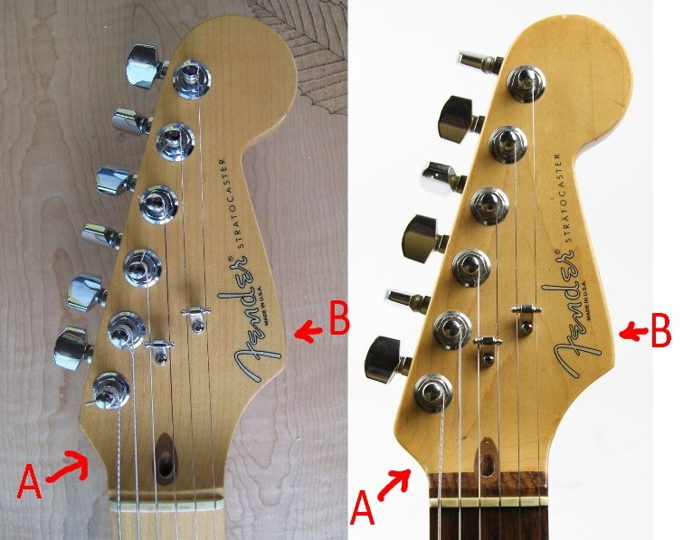 Comparison between a 1996 headstock, on the left, with one from 1999, on the right. All headstcocks made after the CBS era, but before 1998, had a shape similiar to the pre-CBS one, but not the same. You can see a different inclination of the curve