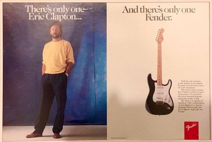 One of the very first advert of the Eric Clapton Stratocaster, Rolling Stone magazine.