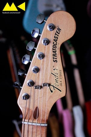 Smith headstock e block logo in una Stratocaster Standard del 1982