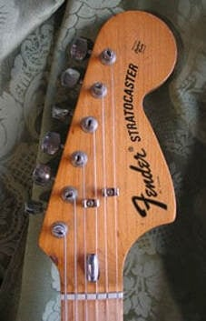 '72 Stratocaster headstock with bullet truss rod