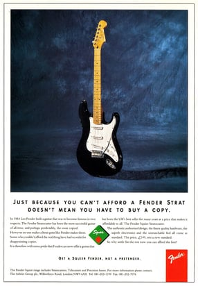 1992 Fender Squier Stratocaster ad: logo and bridge were wrongly the old ones