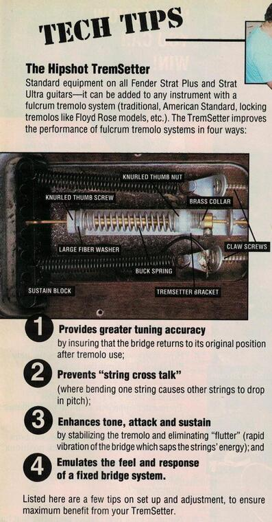 Screws and springs in the Hipshot Trem-Setter