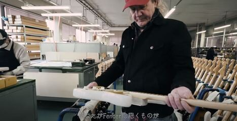 Mark Kendrick at Dyna Gakki factory with a made in Japan Heritage Strat