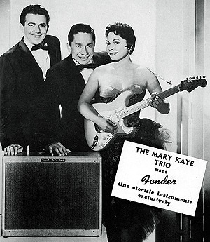 Mary Kaye posing with the famous blonde Stratocaster with the gold-plated hardware, 1956
